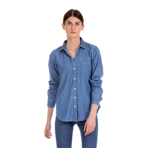 Gap Washed Regular Fit Full Sleeve Casual Shirt with Styled Button Placket & Patch Pocket - Indigo