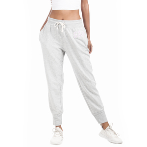 Gap Mid Rise Regular Fit Elasticized Drawstring Waist Solid Color Knitted Jogger with Applique Worked Logo - Lt. Grey