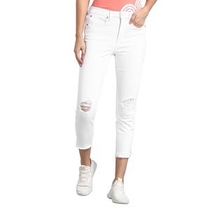 Gap High Rise Skinny Fit Sold Color Jeans Styled with Heavy Distress & Raw Hems - White