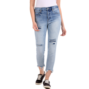 Gap High Rise Skinny Fit Washed Jeans Styled with Heavy Distress & Raw Hems - Lt. Blue