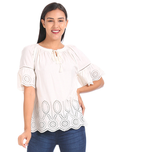 Gap Solid Color Gather Detailed Top Styled by Neck Tie-Up & Scalloped Hem Lines with Embroidered Eyelets - Off White