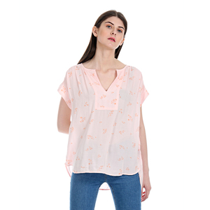 Gap Floral Printed Notch Round Neck Top Styled with Raglan Sleeves & High-Low Hem - Pink