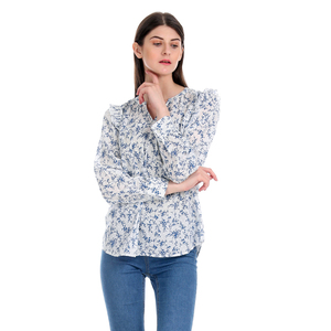 Gap Floral Printed Notch Round Neck Full Sleeve Top with Pleating details All Over - White