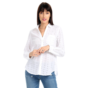Gap Eyelet Poplin Weaved Solid Color Regular Fit Full Sleeve Casual Shirt with Patch Pocket - White