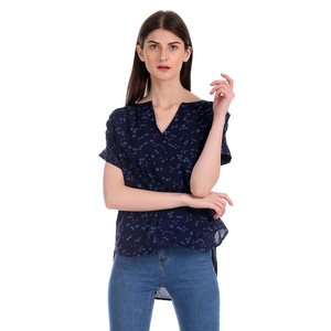 Gap Floral Printed Notch Round Neck Top Styled with Raglan Sleeves & High-Low Hem - Navy
