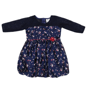 Doodle Girls Midi/Knee Length Ruffle Casual Dress- Navy- 2-3Y