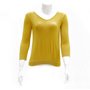 Sculler For Her Solid V-Neck Knit Top-Mustard
