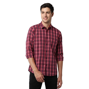 Peter England Mens Shirt PCSFCSLPD12234 Red