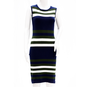 Sculler For Her Sleevless Sheath Knit Dress With Horizontal Stripes-Navy