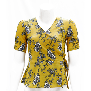 Sculler For Her Floral Printed Asymmetrical Peplum Style Woven Top-Yellow