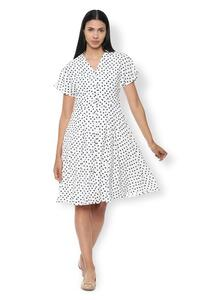Van Heusen Woman Polka Dotted Casual Dress With Bell Sleeve - White