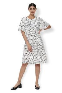 Van Heusen Woman Polka Dotted Knot Style Casual Dress With Bell Sleeve - White