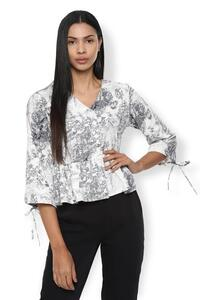 Van Heusen Woman Asymmetrical Peplum Top With Front Open Buttons & Styled Sleeve - White