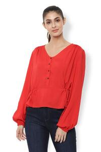 Van Heusen Woman Bishop Sleeved Solid Color Side Tie-Up Top With Gather Details & Front Yoke Buttons - Red