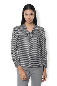 Van Heusen Woman Full Sleeve Stripe Textured Top With Bow Style V Neck  - White