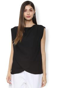 Van Heusen Woman Sleeveless Solid Color Top With Cowl Style Crossover Hem - Black