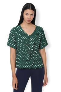 Van Heusen Woman Polka Doted Yoke Buttoned V Neck Top With Front Tie-Up Waist - Green