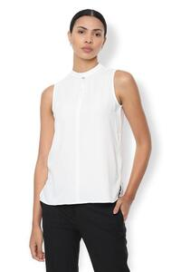 Van Heusen Woman Solid Color Sleeveless Top With Slitted High Neck - Off White