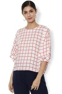 Van Heusen Woman Check Printed Round Neck Top With Circular Bell Sleeve - White