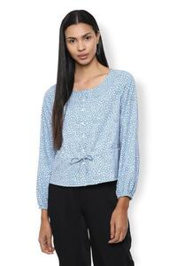 Van Heusen Woman Printed Round Neck Elastic Hem Sleeved Top With Center Front Buttons & Bow - Medium Blue