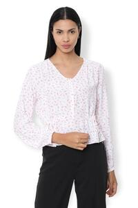 Van Heusen Woman Printed V Neck Top With Elastic Hem Sleeve & Side Adjusting Tie-Up Waist Line - White