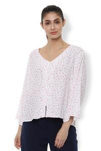 Van Heusen Woman Bell Sleeved Wide V Neck Printed Top With Front Open Button Hooks - Pink