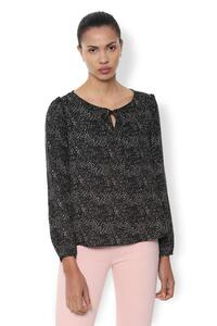 Van Heusen Woman Printed Top With Gathered Full Sleeve & Round Neck Tie-Up - Black