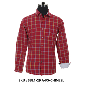 Classic Polo Mens Woven Shirt Sbl1-29 A-Fs-Chk-Bsl Red