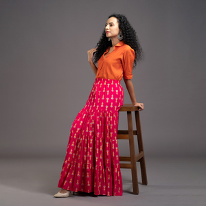 Zella Solid Color Cotton Silk Elbow Sleeve Shirt & Rayon Printed Tyre Skirt Set - Orange & Pink