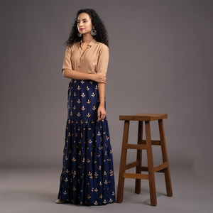 Zella Solid Color Elbow Sleeve Shirt & Foil Printed Tyre Skirt Set - Golden Beige & Navy blue