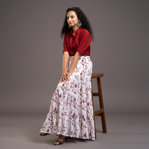 Zella Solid Color Cotton Silk Elbow Sleeve Shirt & Cotton Printed Tyre Skirt Set -  Maroon & white