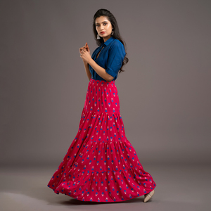 Zella Solid Color Cotton Silk Elbow Sleeve Shirt & Rayon Printed Tyre Skirt Set - Royal Blue & Majantha