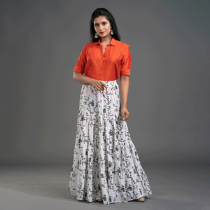 Zella Solid Color Cotton Silk Elbow Sleeve Shirt & Cotton Printed Tyre Skirt Set - Orange & White