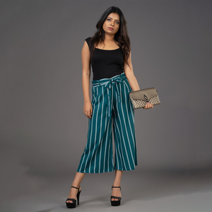 Zella Double Line Striped Cullotte with Waist Tie-Up Belt - Peacock Green