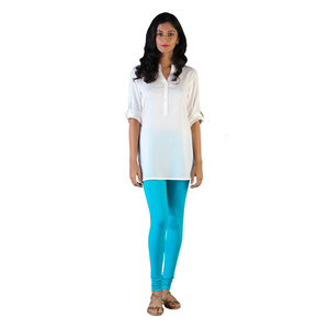 Twin Birds Women Solid Colour Churidar Legging with Signature Wide Waistband - Grand Turquoise- Size - Extra Large