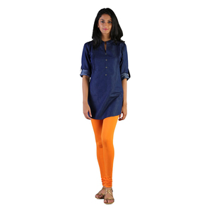Twin Birds Women Solid Colour Churidar Legging with Signature Wide Waistband - Orange Tango- Size - Large