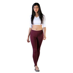 Twin Birds Women Solid Colour Ankle Length Legging with Signature Wide Waistband - Wine