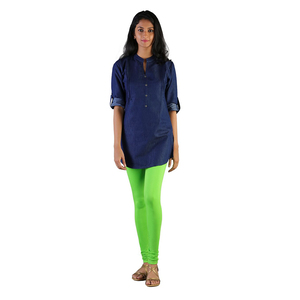 Twin Birds Women Solid Colour Churidar Legging with Signature Wide Waistband - Chlorophyl
