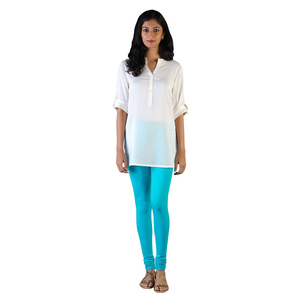 Twin Birds Women Solid Colour Churidar Legging with Signature Wide Waistband - Cyan