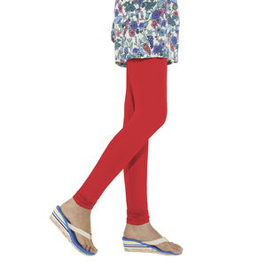 Go Colors Women Solid Color Churidar Legging - Bright Red - S Size