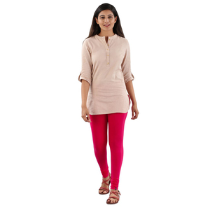 Twin Birds Women Solid Colour Viscose Churidar Legging with Signature Wide Waistband - Rose Red
