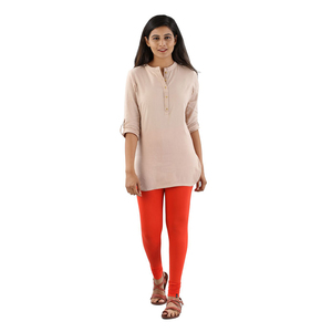 Twin Birds Women Solid Colour Viscose Churidar Legging with Signature Wide Waistband - Terracotta