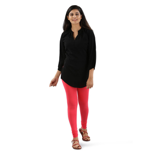 Twin Birds Women Solid Colour Viscose Churidar Legging with Signature Wide Waistband - Spiced Coral