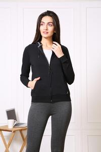Van Heusen Woman Intimates Full Zip Hoodie Sweat Shirts - Black