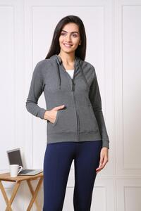 Van Heusen Woman Intimates Full Zip Hoodie Sweat Shirts - Charcoal Melange