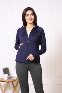 Van Heusen Woman Intimates Full Zip Hoodie Sweat Shirts - Navy