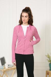 Van Heusen Woman Intimates Full Zip Hoodie Sweat Shirts - Pink Blush