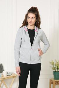 Van Heusen Woman Intimates Full Zip Hoodie Sweat Shirts - Grey Melange