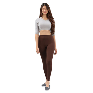 Twin Birds Women Solid Colour Viscose Ankle Length Legging with Signature Wide Waistband - Dark Chocolate