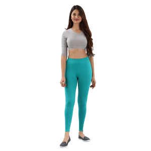 Twin Birds Women Solid Colour Viscose Ankle Length Legging with Signature Wide Waistband - Lapis Green